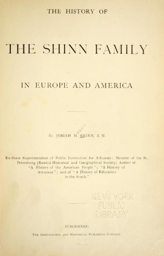9781462289493: The History of the Shinn Family in Europe and America
