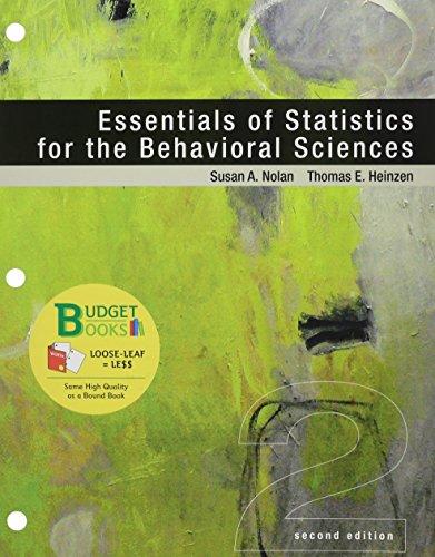 Essentials of Statistics for the Behavioral Sciences: NOLAN