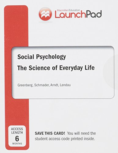 9781464178849: LaunchPad for Greenberg's Social Psychology (Six Month Access)