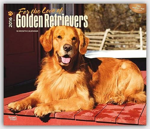 9781465041050: For the Love of Golden Retrievers - 2016 Calendar 14 x 12in