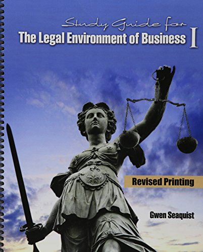 9781465282545: Study Guide for The Legal Environment of Business I