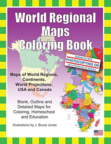 9781466472945: World Regional Maps Coloring Book: Maps of World Regions, Continents, World Projections, USA and Canada