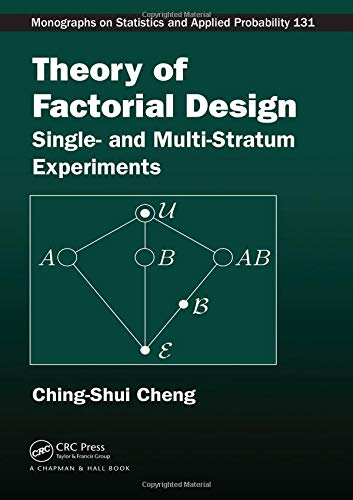 9781466505575: Theory of Factorial Design: Single- and Multi-Stratum Experiments (Chapman & Hall/CRC Monographs on Statistics & Applied Probability)