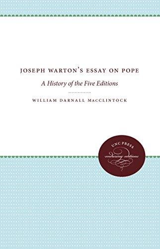 Joseph Warton's Essay on Pope : A: MacClintock, William Darnall