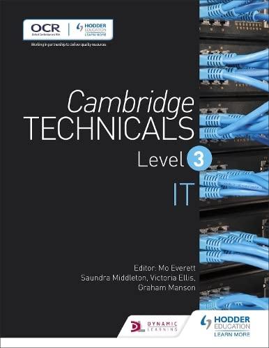 Cambridge Technicals Level 3 IT: Level 3 (Cambridge Technicals 2016): Ellis, Victoria, Manson, ...