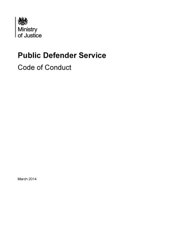 9781474100991: Public Defender Service Code of Conduct