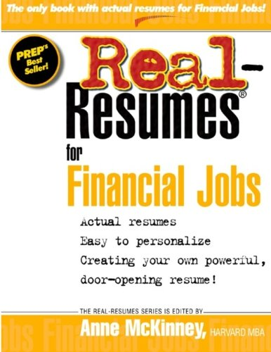9781475093599: Real Resumes for Financial Jobs