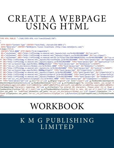 9781477632635: Workbook - Create a Webpage Using HTML