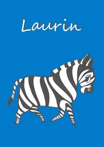9781478144229: Laurin - Notizbuch: Notizheft, Malbuch Zebra, DIN A 4 blanko mit kleinem Zebra auf jeder Seite