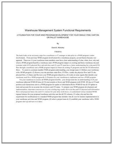 9781478289852: Warehouse Management System Functional Requirement