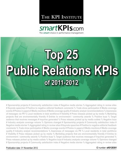 9781482599114: Top 25 Public Relations KPIs of 2011-2012