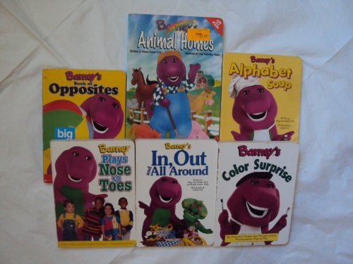 9781482734010: Barney the Purple Dinosaur Board Books: Animal Homes ; Alphabet Soup ; Color Surprise ; In, Out and All Around ; Opposites; Plays Nose to Toe (Book sets for Toddlers & Babies : Barney The Purple Dinosaur)