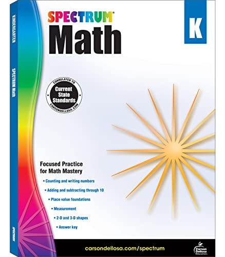 9781483808680: Spectrum - Math Workbook, Kindergarten - Master Counting, Writing Numbers, Basic Addition and Subtraction, Measurement and more, 160 Pages, Ages 5-6