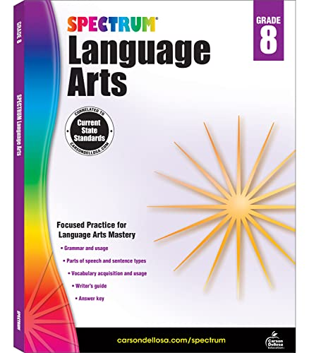 9781483812120: Spectrum Grade 8 Language Arts Workbook—8th Grade State Standards, ELA Writing and Grammar Practice With Writer's Guide and Answer Key for Homeschool or Classroom (160 pgs)