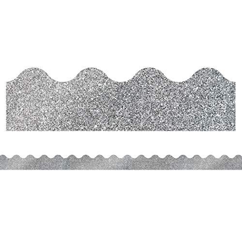 9781483843605: Sparkle and Shine Silver Glitter Scalloped Borders