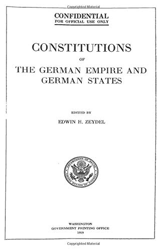 9781484836248: Constitutions Of The German Empire And German States