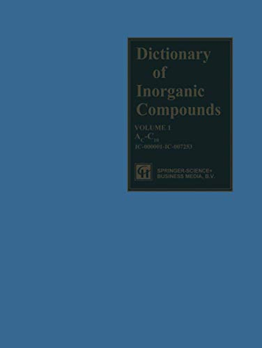 9781489946409: Dictionary of Inorganic Compounds: Volume One