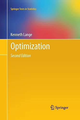 9781489992703: Optimization (Springer Texts in Statistics)