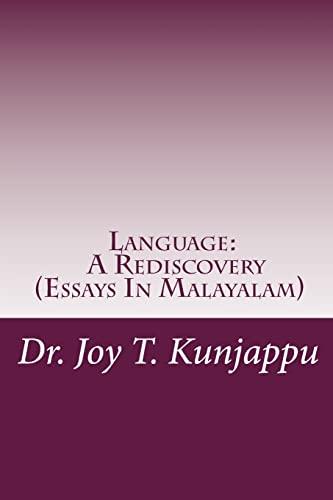 Language a Rediscovery: Kunjappu, Dr Joy