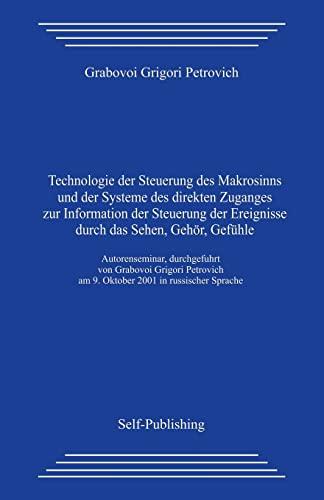 9781497436923: Technologie der Steuerung des Makrosinns