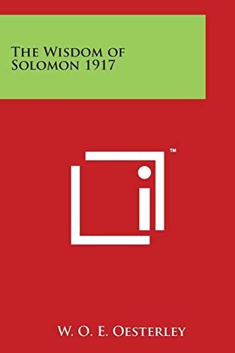 9781497946002 - Oesterley, W O E (Editor): The Wisdom of Solomon 1917 - Book