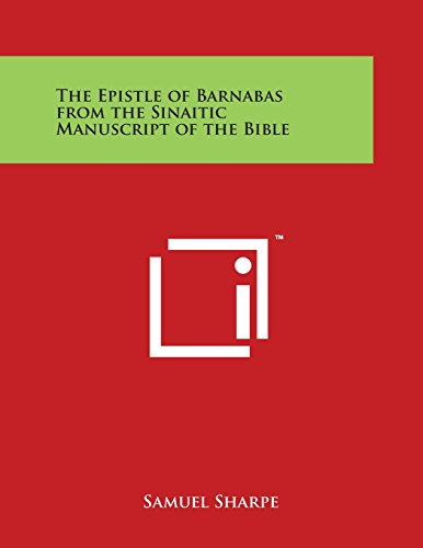 9781497946552 - Sharpe, Samuel: The Epistle of Barnabas from the Sinaitic Manuscript of the Bible - Book