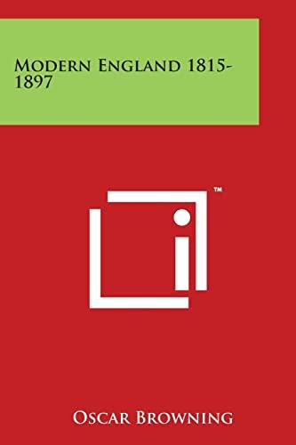 9781497947917 - Browning, Oscar: Modern England 1815-1897 - Book