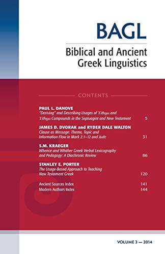 9781498226431: Biblical and Ancient Greek Linguistics, Volume 3