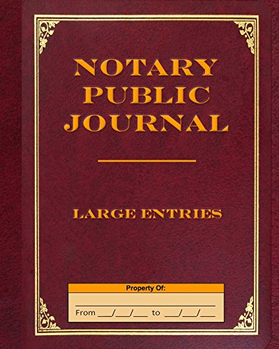 9781499378900: Notary Public Journal Large Entries