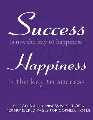 Success and Happiness Notebook 120 Numbered Pages for Cornell Notes: Notebook for Cornell notes ...