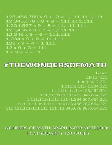 9781500532581: Wonders of Math Graph Paper Notebook 120 pages with 1 cm squares: 8.5 x 11 inch notebook with green cover, graph paper notebook with one centimeter ... sums, composition notebook or even journal