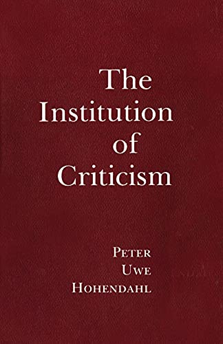 9781501707186: The Institution of Criticism