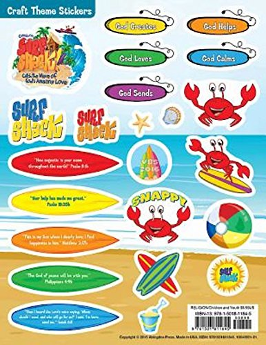 9781501811845: Vacation Bible School (VBS) 2016 Surf Shack Craft Theme Stickers (Pkg of 12): Catch the Wave of God's Amazing Love