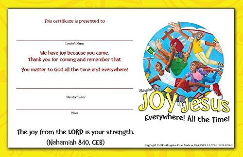 9781501812163: Vacation Bible School (VBS) 2016 Joy in Jesus Student Certificates (Pkg of 25): Everywhere! All the Time!