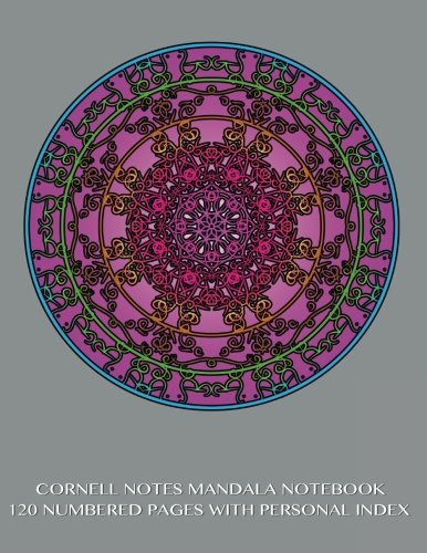 9781502590336: Cornell Notes Mandala Notebook 120 Numbered Pages with Personal Index: Journal for Cornell Notes with Believe Mandala gray cover - 8.5