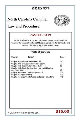 9781502915368: North Carolina Criminal Law and Procedure-Pamphlet 49