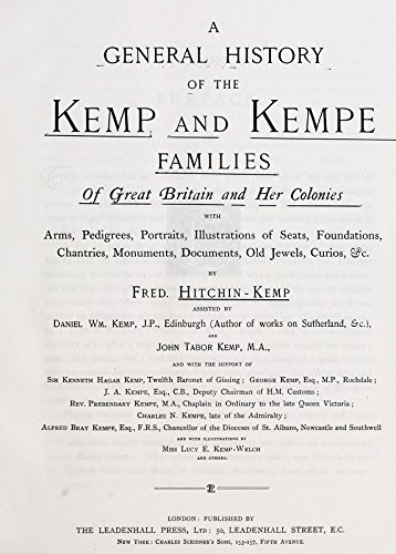 9781504201926: A General History Of The Kemp And Kempe Families :