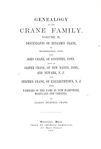 9781504204149: Genealogy of The Crane Family: