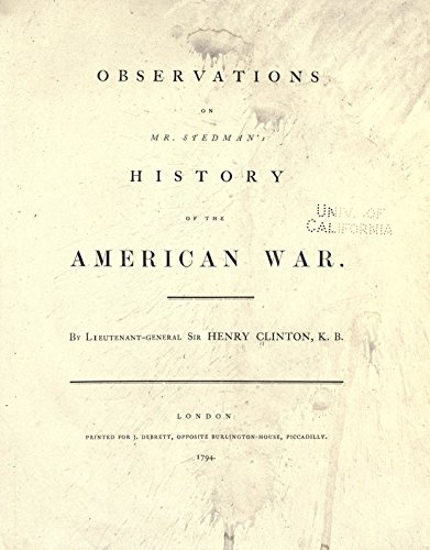 9781504284783: Observations On Mr. Stedman's History of the American War