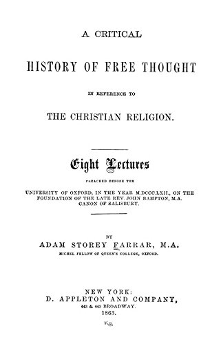 9781504289160: A Critical History of Free Thought in Reference to the Christian Religion