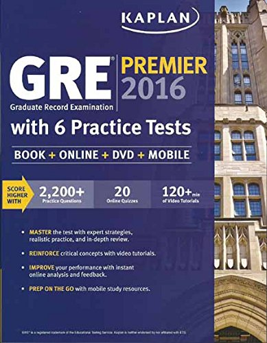 9781506200255: GRE Premier 2016 Graduate Record Examination with 6 Practice Tests (Book + Online + DVD + Mobile PB)