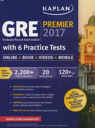 9781506203225: GRE Premier 2017 with 6 Practice Tests: Online + Book + Videos + Mobile (Kaplan Test Prep)