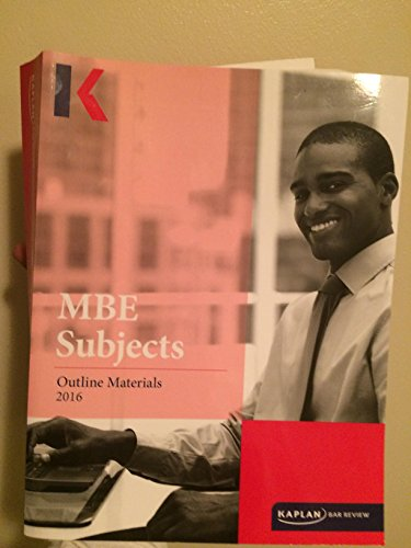 Kaplan Bar Review MBE Subjects Outline Materials