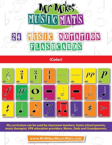 9781514241868: 24 Music Notation FlashCards (Color): MrMikesMusicMats (Volume 2)