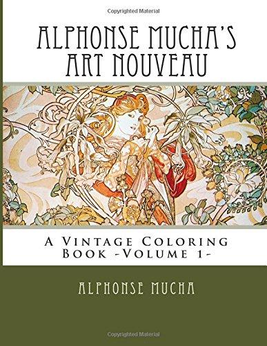 9781514395929: Alphonse Mucha's Art Nouveau: A Vintage Coloring Book -Volume 1-