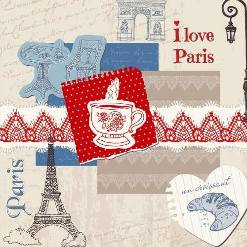 9781514604014: I Love Paris: Beautiful Color Interior Journal and Scrapbook Memory Keeper with Photo Pages