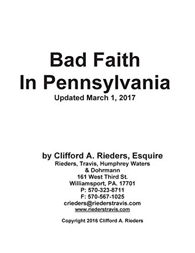 9781515004479: Bad Faith in Pennsylvania