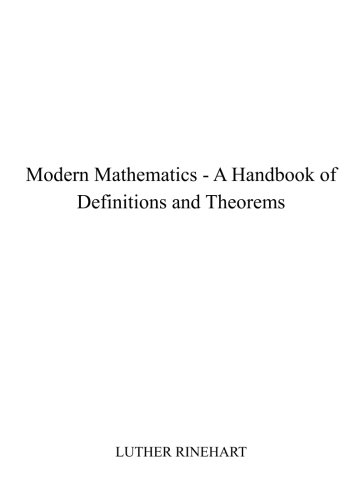 9781515084730: Modern Mathematics - A Handbook of Definitions and Theorems