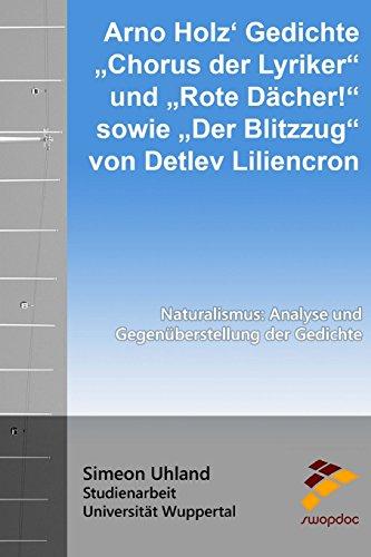 9781515092865: Arno Holz Gedichte Chorus der Lyriker und Rote D�cher! sowie Der Blitzzug von Detlev Liliencron