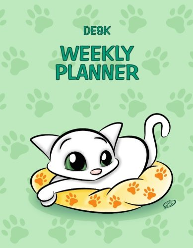 9781516963300: Desk Weekly Planner: No Dates - 7x9 inches - Cat Design - Green